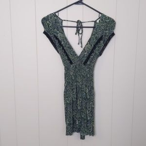 Free People Green Paisley Top